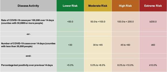 Disease Metrics for Risk Levels