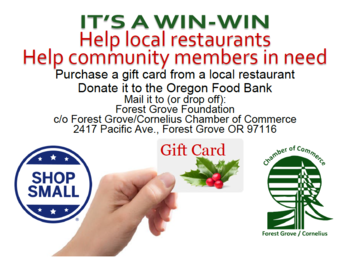 Poster-Local Restaurant Gift Cards for the Oregon Food Bank