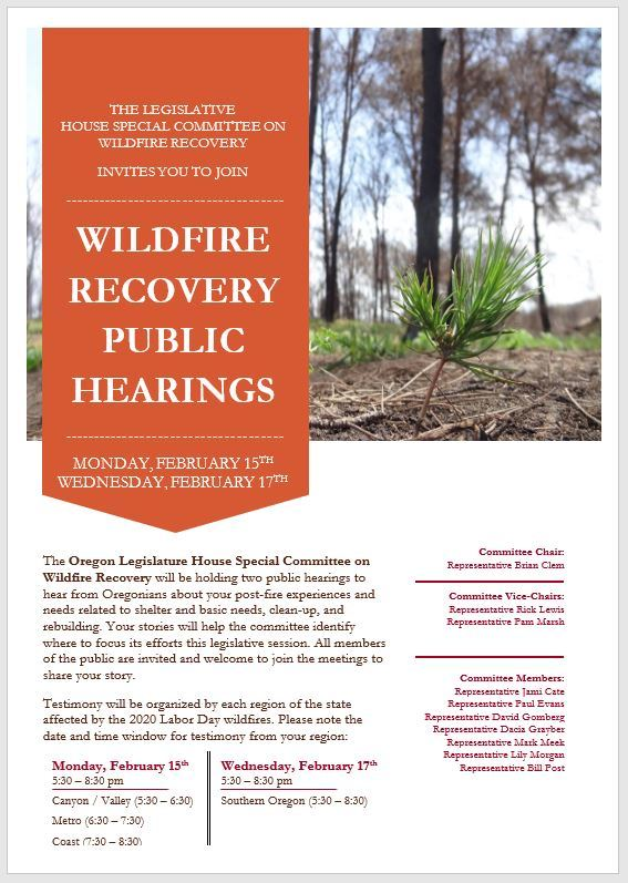 Info/Flyer - Wildfire Recovery Public Hearing