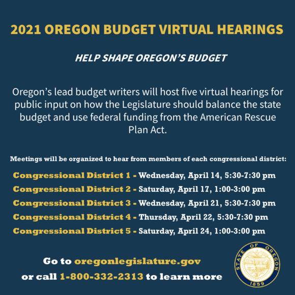 2021 Oregon Budget Virtual Hearings