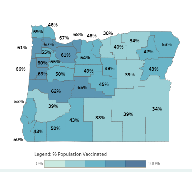 Map of Oregon vaccination rates by county