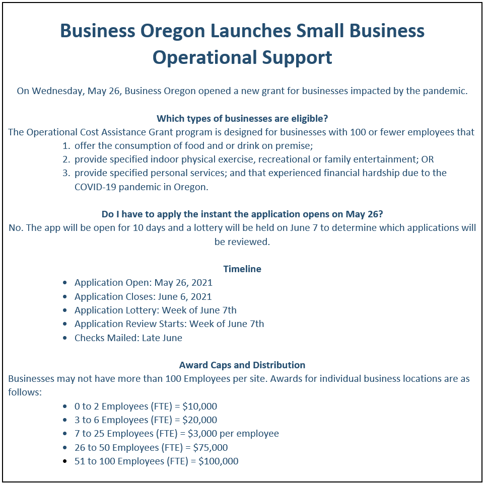 Business Oregon Operational Support Grant Information