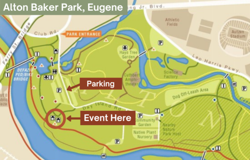 Map of Alton Baker Park with location of event