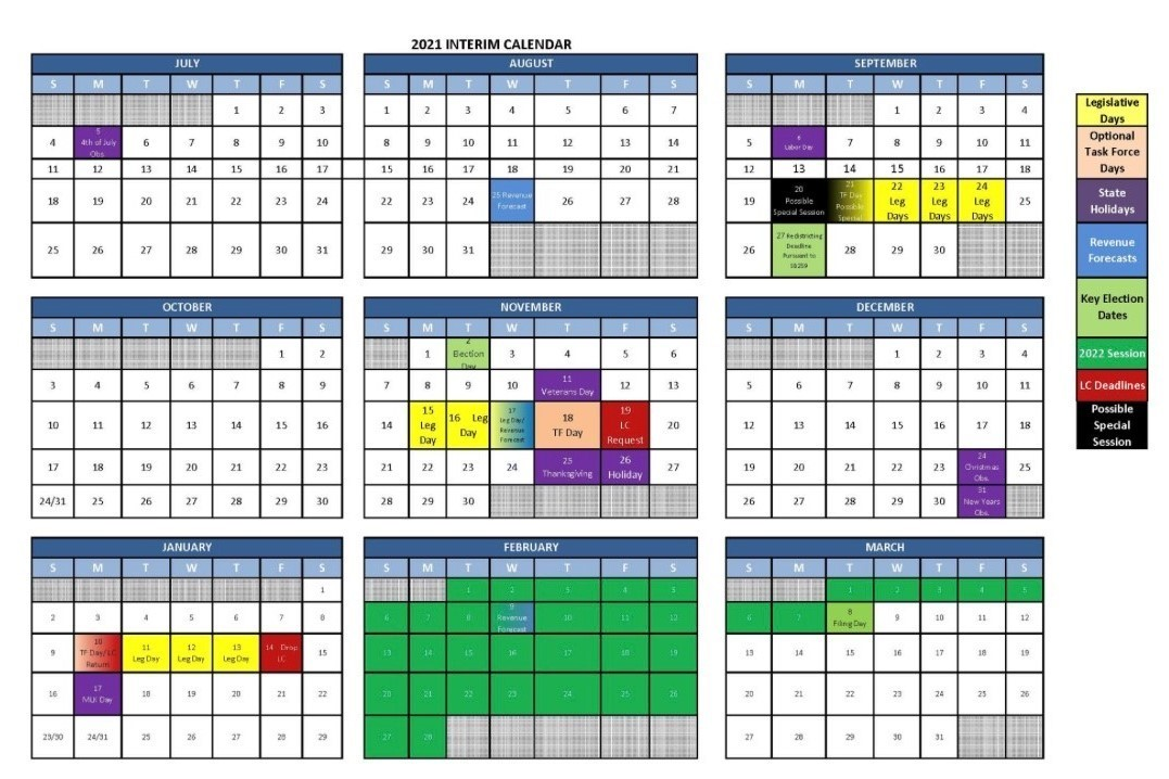 2021 Legislative Interim Calendar Graphics
