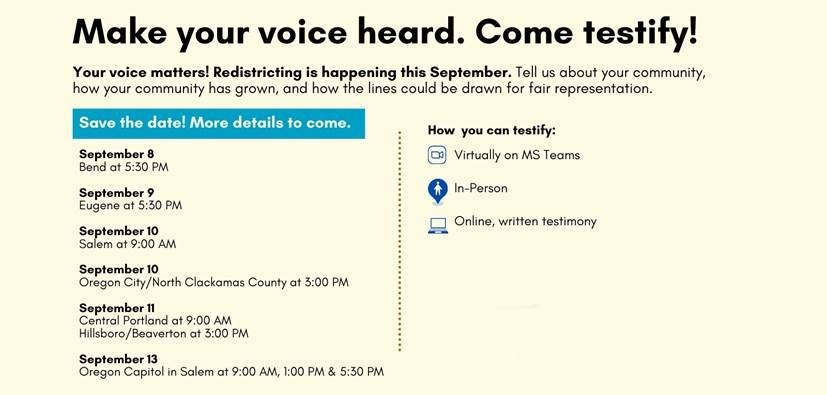 Redistricting - opportunities to testify