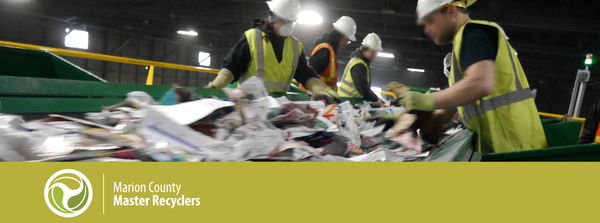 Image of a materials recovery facility and master recycler logo