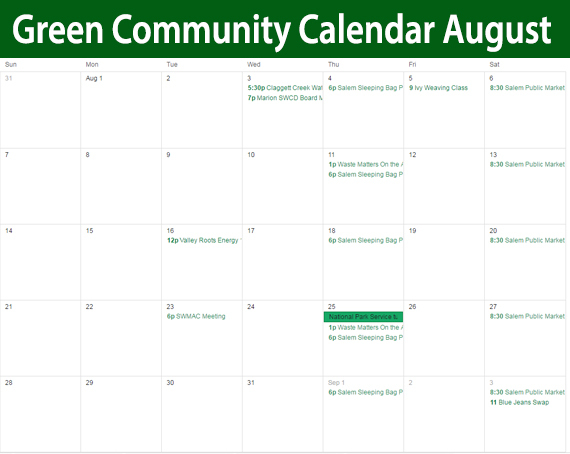 September Green Community Calendar