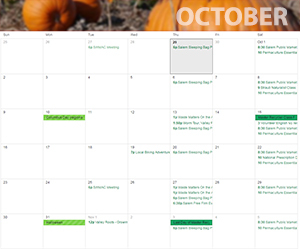 October Green Calendar
