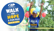 Walk for Hope event logo and photo of runner