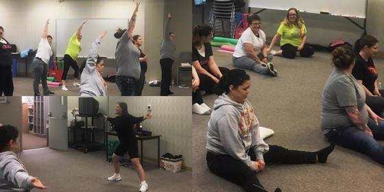 Photo collage of fitness class participants