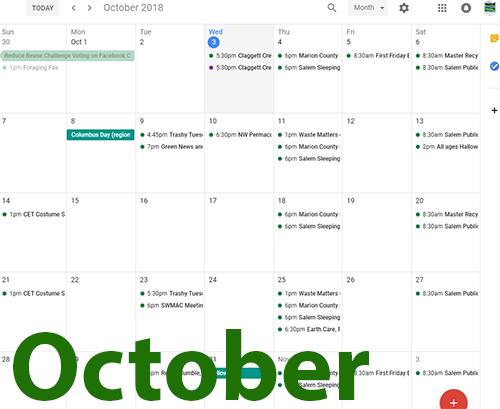 October Waste Matters Calendar
