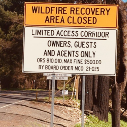 North Fork Road closure sign