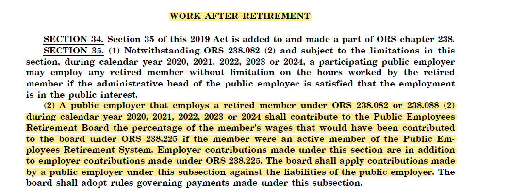 Work After Retirement SB1049 bill language