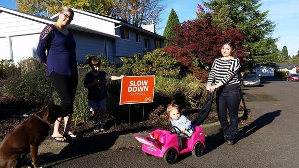 Vision Zero signs in Markham neighborhood