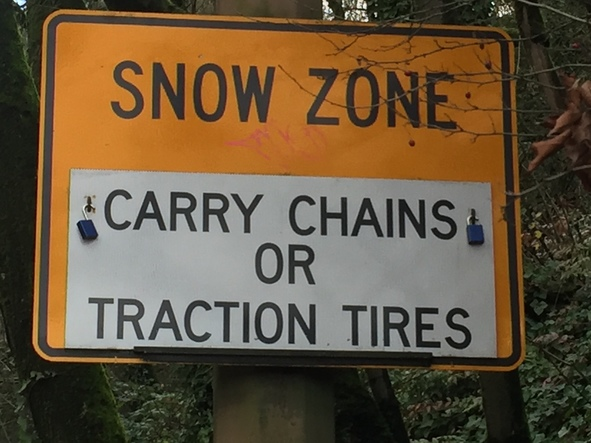 Snow Zone sign West Burnside