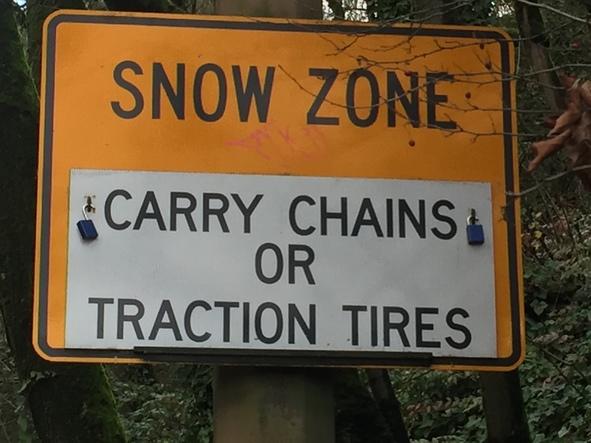 Snow Zone sign West Burnside