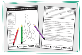 bike to books coloring page