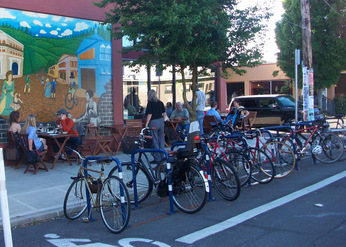 bike corral in Portland