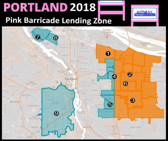 The PBOT Pink Barricade Lending Zone
