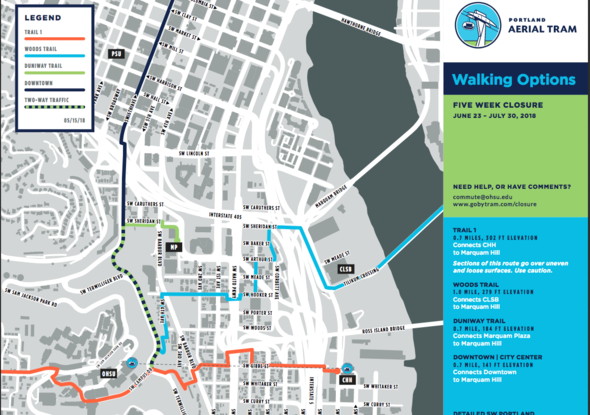 Maps of walking, biking, shuttle and public transit options during tram track rope closure