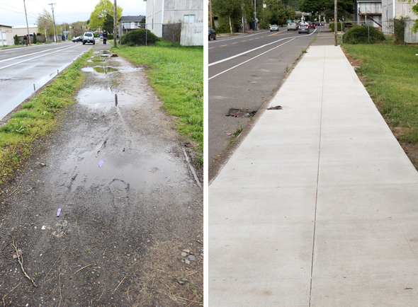 Before and After: New sidewalks on SE Flavel