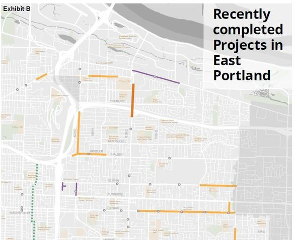 Map of recently completed East Portland projects Sprin 2018