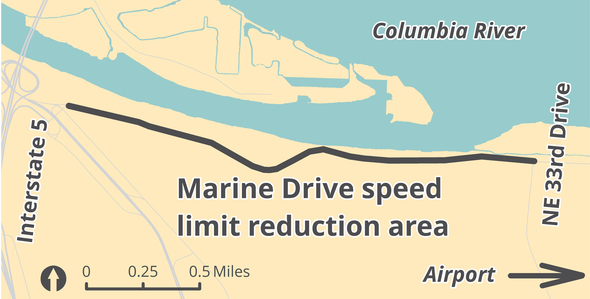 Marine Drive speed limit reduction 2018