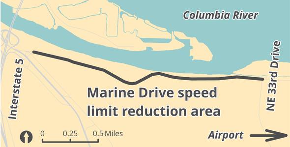 Marine Drive speed limit reduction 2018