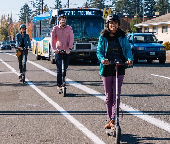 e-scooters in Portland, Oregon