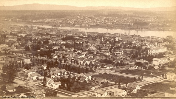 Downtown Portland looking east in 1883.