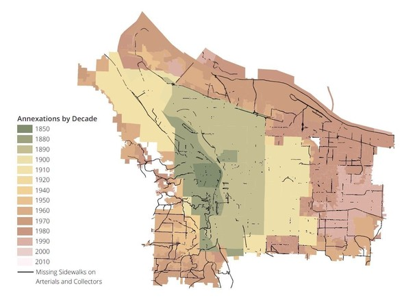 Annexation map of Portland