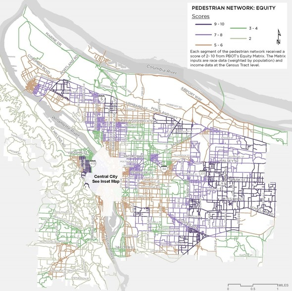Pedestrian Network: Equity Map