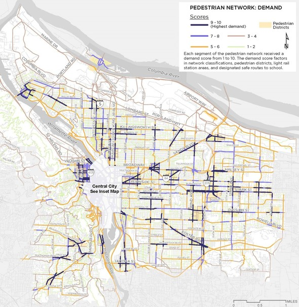 Pedestrian Network: Demand Map