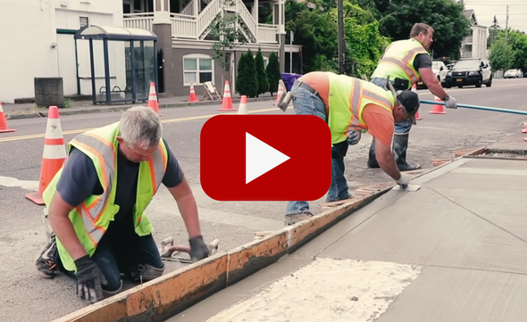 Video of PBOT crews installing ADA Curb Ramps and Corners