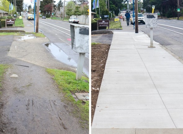 Before and After images of new sidewalks on SE Flavel
