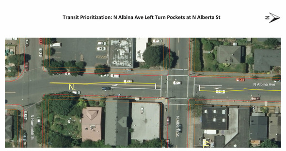 Transit Priority Restriping at Albina and Alberta