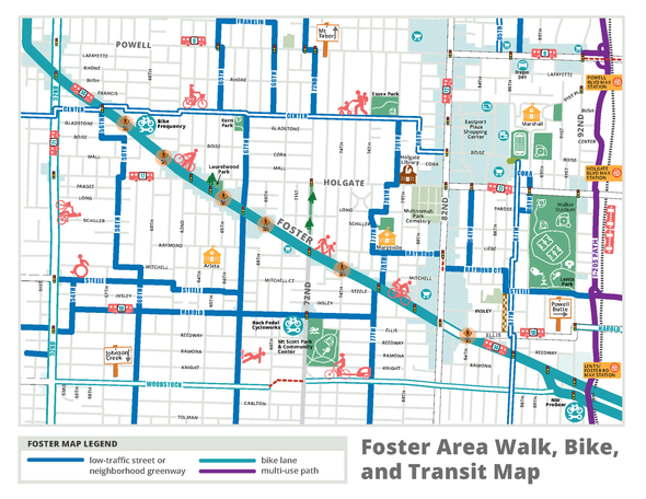 Foster Area Walk, Bike and Transit Map