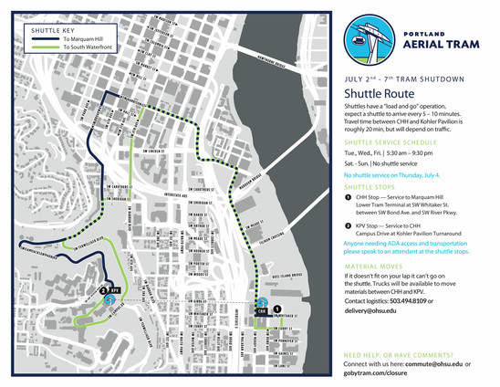Tram + Shuttle Route Map Summer 2019