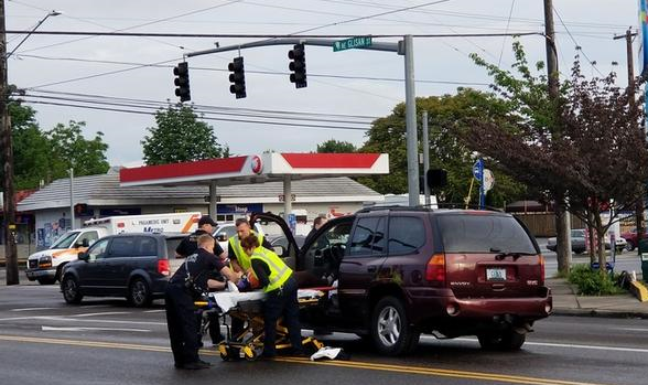 A crash at 6:55 a.m. on May 21, 2019 that required police and medical response.