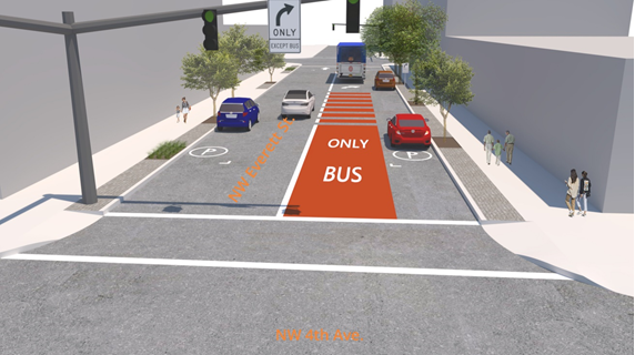 Rendering of NW 4th Ave and NW Everett