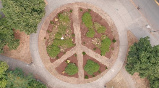 Peace memorial park aerial photo