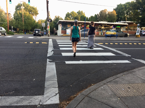 A high-visibility crosswalk at SE 30th Avenue and Hawthorne Boulevard