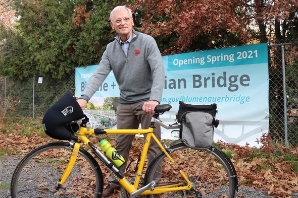 Congressman Blumenauer with a bike.