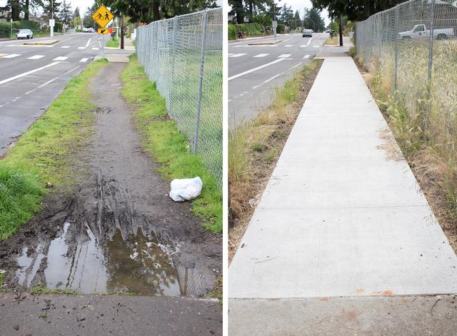 Before and After photos of SE Flavel Street Sidewalk Improvements