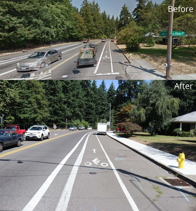Before and After photo of sidewalk improvements on Glisan Street
