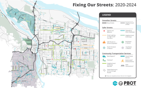Fixing Our Streets proposed project map 2020-2024