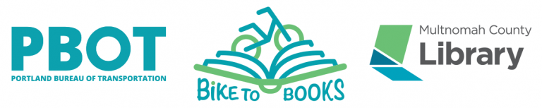 Multnomah County Library, PBOT and Bike to Books logos