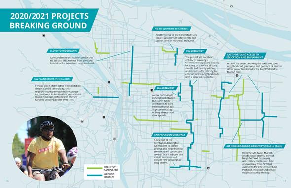 Map of 2020/21 Neighborhood Greenway projects breaking ground