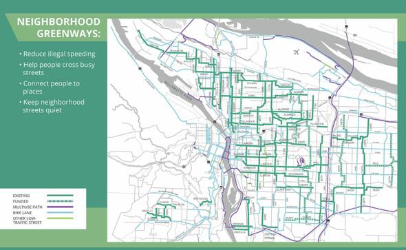 Map of Portland Neighborhood Greenways