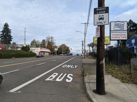 Recently completed Rose Lane improvement on NE Sandy approaching NE Prescott
